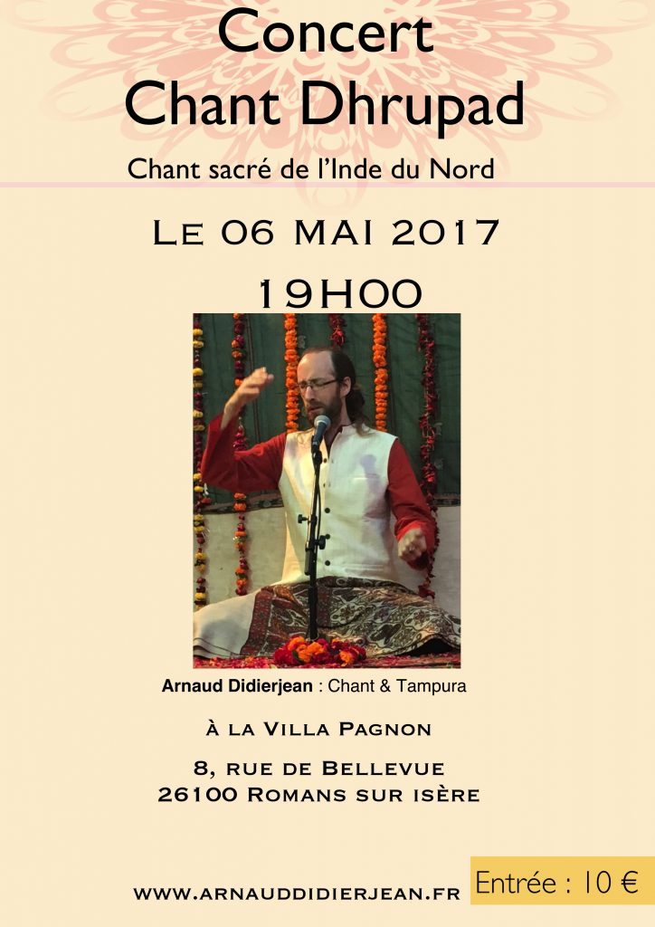 Concert de chant dhrupad arnaud didierjean 6 mai 2017 romans accompagnement cours yoga - Office du tourisme romans sur isere ...